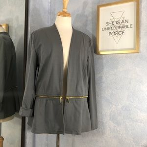 IMAN Convertable Zip Peplum Jacket